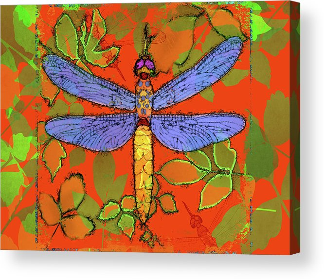 Dragonfly Acrylic Print featuring the digital art Shining Dragonfly by Mary Ogle