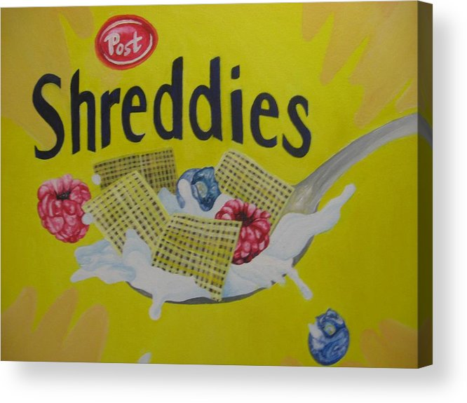 Shreddies Acrylic Print featuring the painting Shreddies by Theodora Dimitrijevic
