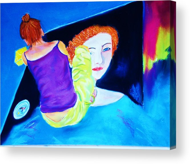 Painting Within A Painting Acrylic Print featuring the print Sidewalk Artist II by Melinda Etzold