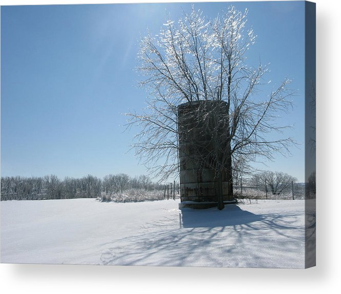 Sun Acrylic Print featuring the photograph Silo In The Snow by Martie DAndrea