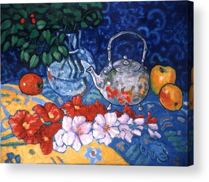 Still Life Acrylic Print featuring the painting Silver Tea Pot by Paul Herman