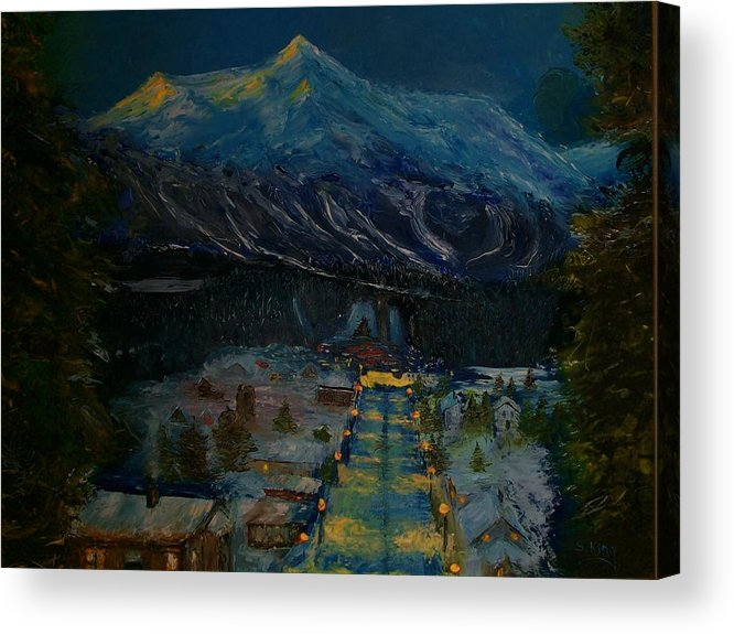 Winter Acrylic Print featuring the painting Ski Resort by Stephen King