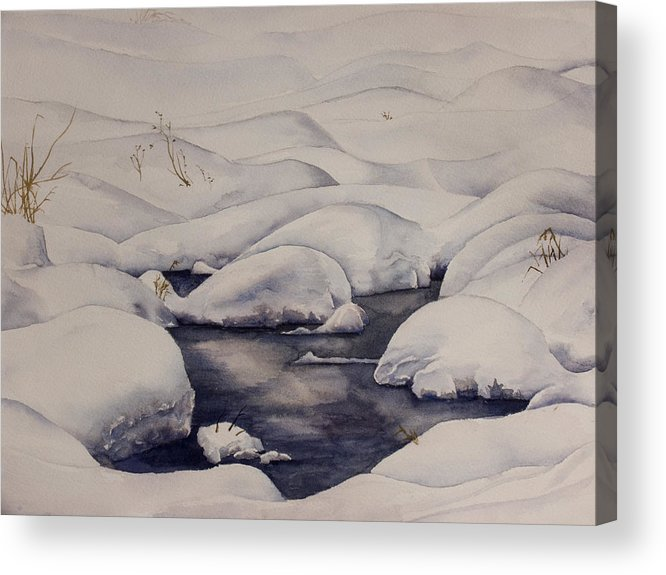 Snow Acrylic Print featuring the painting Snow Pool by Debbie Homewood