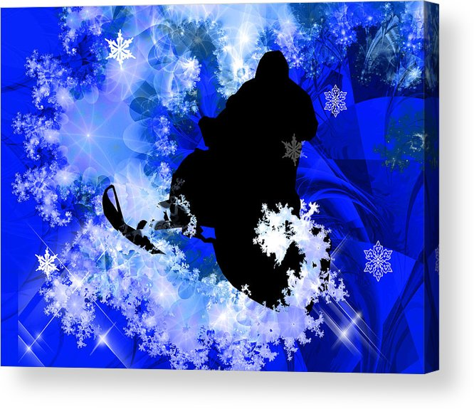 Snowmobile Acrylic Print featuring the painting Snowmobiling In The Avalanche by Elaine Plesser