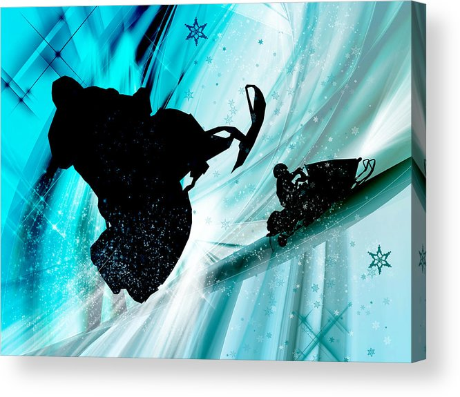 Snowmobile Acrylic Print featuring the painting Snowmobiling On Icy Trails by Elaine Plesser