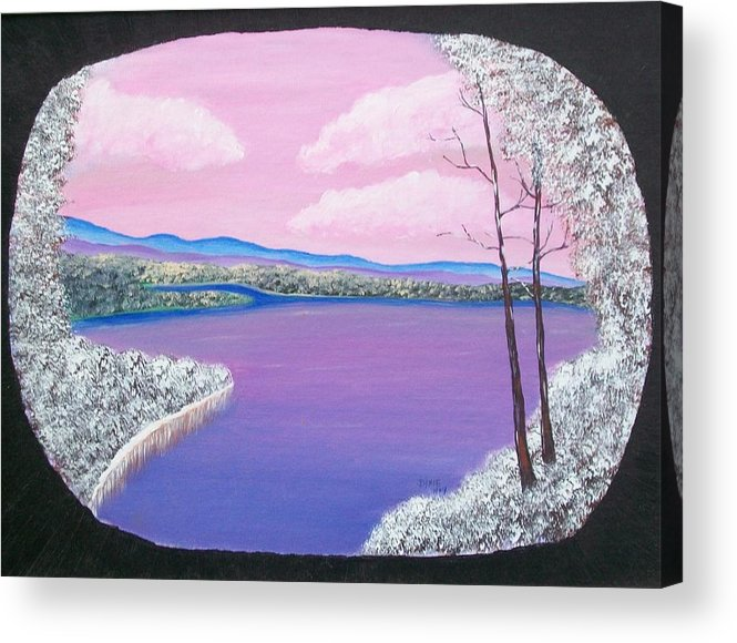 Winter Lake Acrylic Print featuring the painting Snowy Lake by Dixie Lee Hedrington