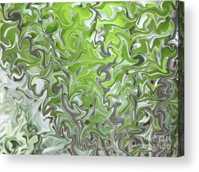 Abstract Acrylic Print featuring the photograph Soft Green And Gray Abstract by Carol Groenen