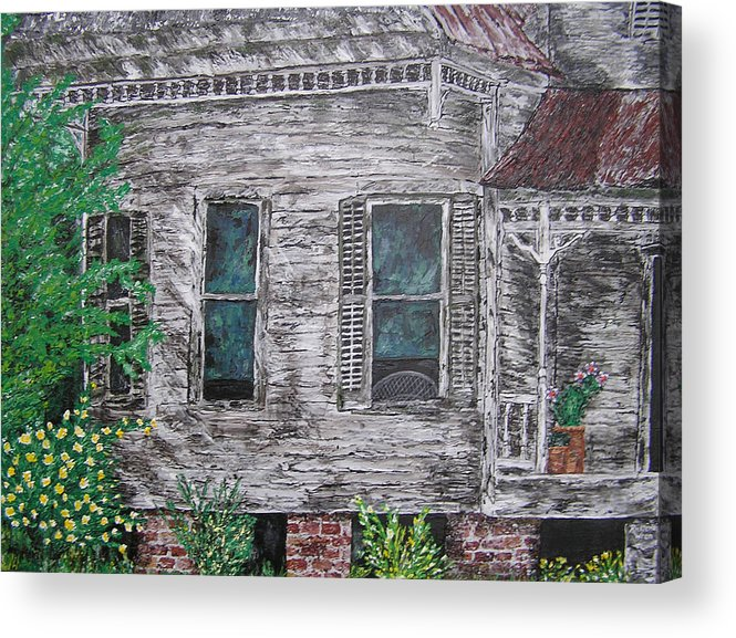 House Acrylic Print featuring the painting Solitude Awaits by Ricklene Wren