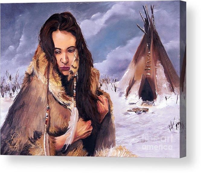 Southwest Art Acrylic Print featuring the painting Solitude by J W Baker