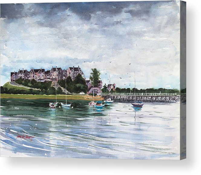 Watercolor Painting Acrylic Print featuring the painting Spinnaker Island by Laura Lee Zanghetti