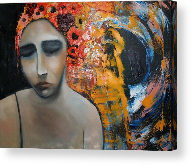 Girl Acrylic Print featuring the painting Split Sadness by Niki Sands