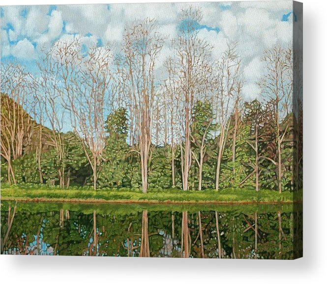 Landscape Acrylic Print featuring the painting Spring Pond Reflection by Allan OMarra