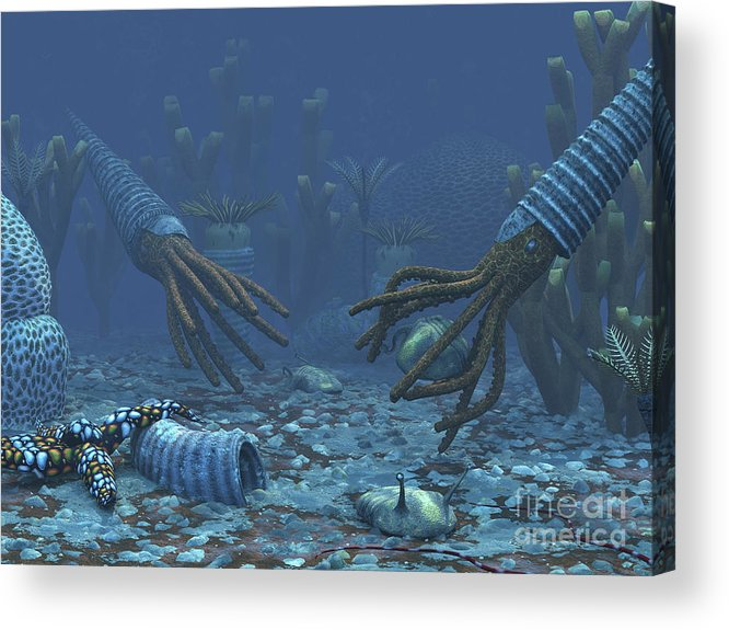 Earth Acrylic Print featuring the digital art Squid-like Orthoceratites Attempt by Walter Myers
