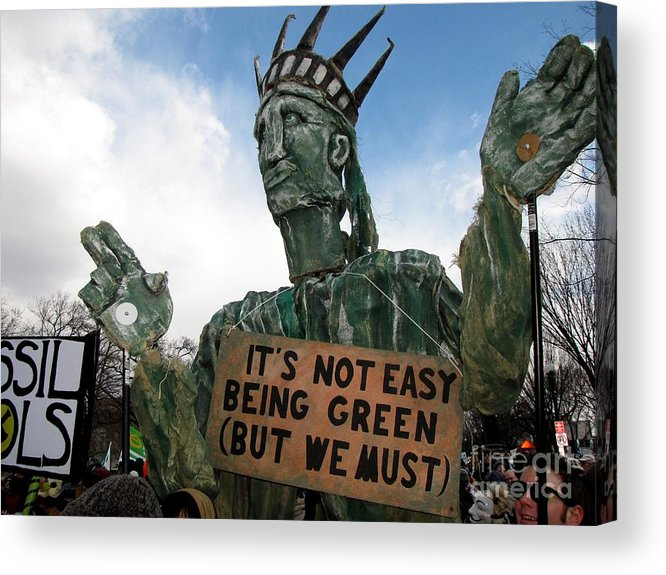 Schuminweb Acrylic Print featuring the photograph Statue Of Liberty Street Puppet At Political Demonstration by Ben Schumin