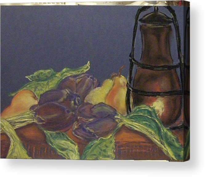 Still Life Acrylic Print featuring the pastel Still Life With Artichockes by Rita Bandinelli