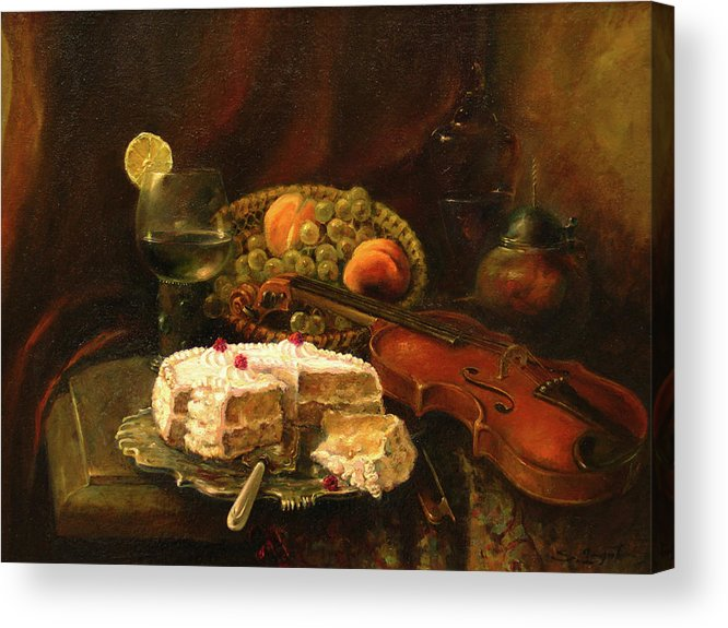 Armenian Acrylic Print featuring the painting Still-life With The Violin by Tigran Ghulyan