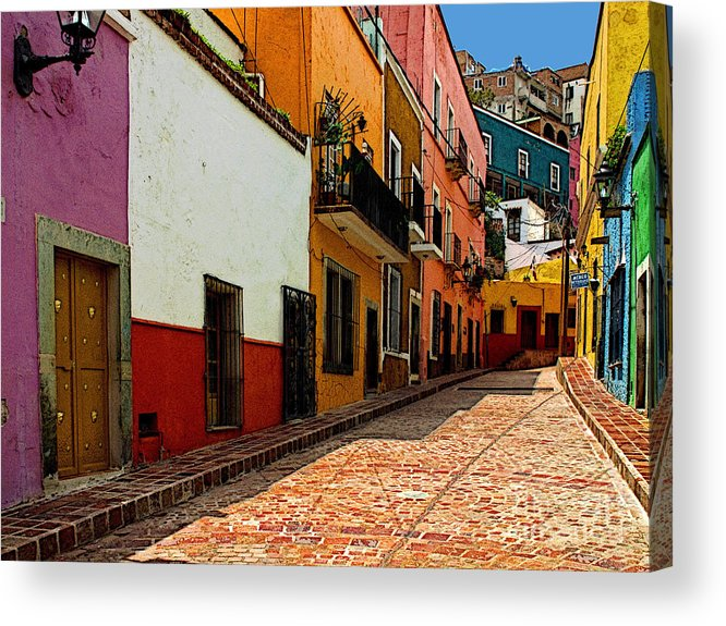Olden Mexico Acrylic Print featuring the photograph Street Of Color Guanajuato 5 by Mexicolors Art Photography