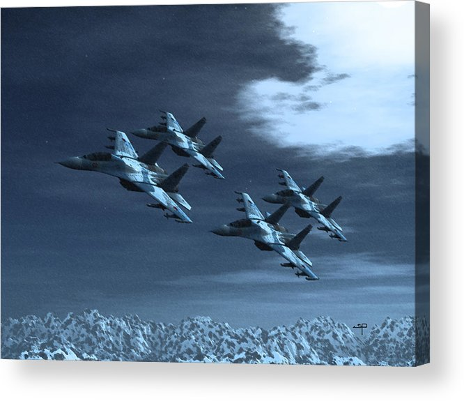 Su-35 Russian Jets Acrylic Print featuring the digital art Su-35 Russia by Steven Palmer