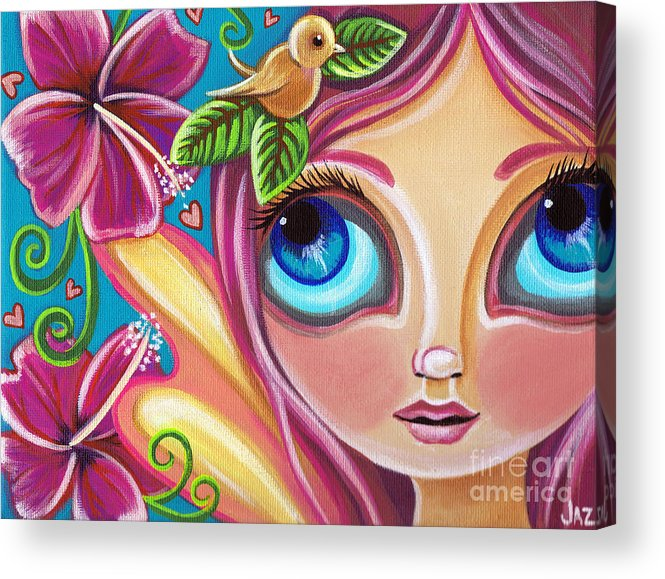 Pink Acrylic Print featuring the painting Summer Bliss Fairy by Jaz Higgins