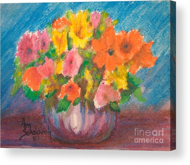 Sokolovich Acrylic Print featuring the painting Summer Flowers by Ann Sokolovich