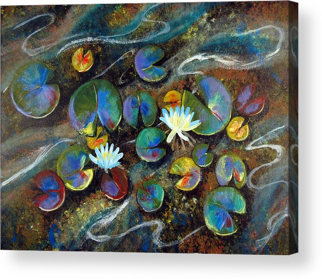 Lillies Acrylic Print featuring the painting Summer Lillies by Art Nomad Sandra Hansen