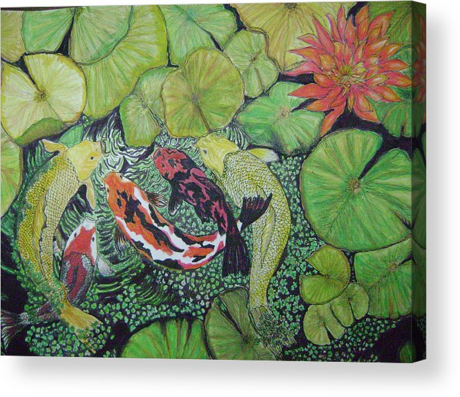 Fish Pond Acrylic Print featuring the painting Summer Pond At Lunchtime by Laura Johnson
