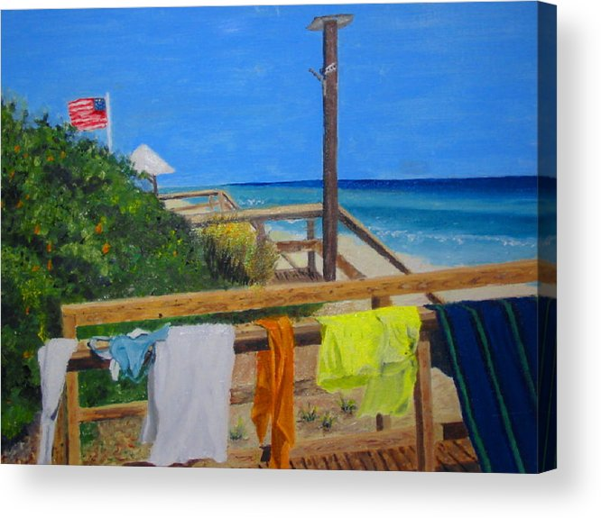 Seascape Acrylic Print featuring the painting Sun Deck by John Terry