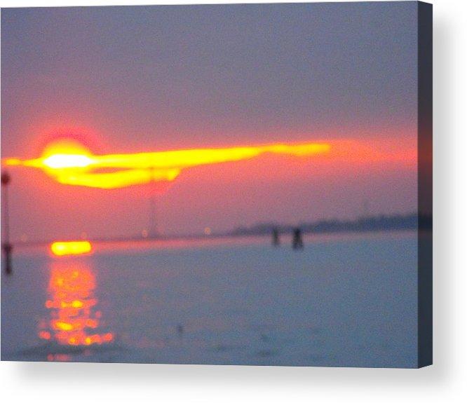 Landscaper Seascapes Sunset Acrylic Print featuring the photograph Sun Sets Over Venice IIi by Viviana Puello Villa