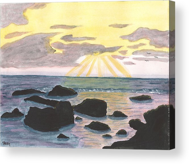 Acrylic Print featuring the painting Sun Streaming Through Clouds by Sea Sons Home and Life