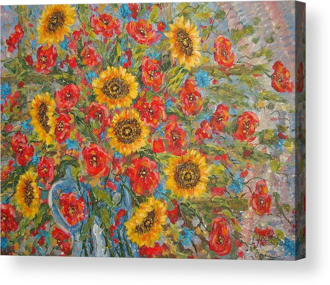 Flowers Acrylic Print featuring the painting Sunflowers In Blue Pitcher. by Leonard Holland