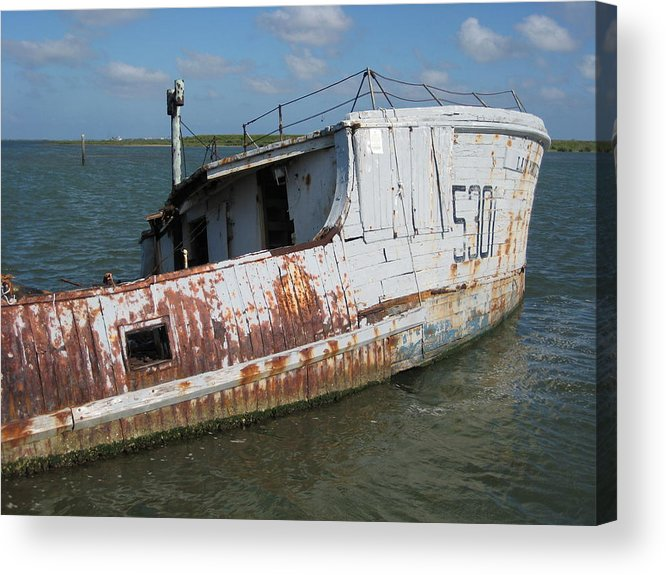 Boat Acrylic Print featuring the photograph Sunken Shrimpboat by Wendell Baggett