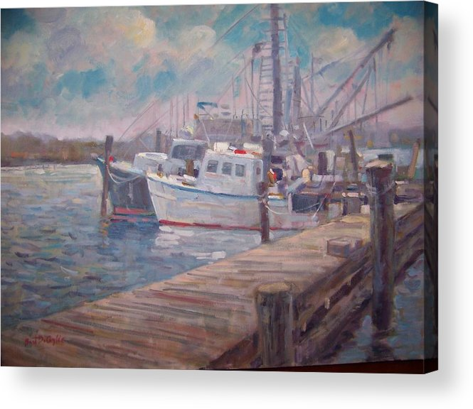 Fishing Boats At A Long Island Marina Acrylic Print featuring the painting Sunny Marina by Bart DeCeglie