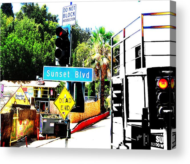 Stoplight On Sunset Blvd Acrylic Print featuring the digital art Sunset Blvd by Maria Kobalyan