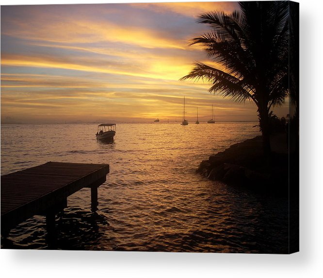 Sunset At The Dock In Fare Acrylic Print featuring the photograph Sunset In Huahine by Ileana Carreno