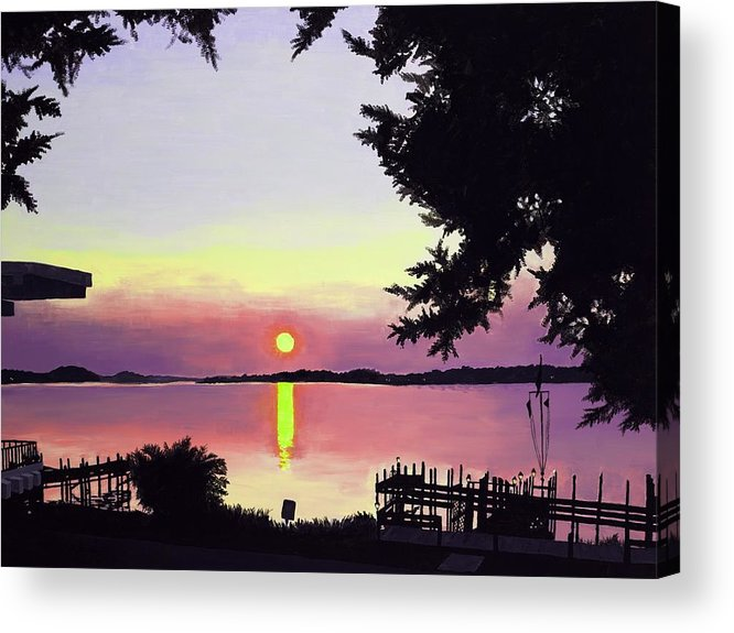 Sunset On Lake Acrylic Print featuring the painting Sunset On Lake Dora by Judy Swerlick