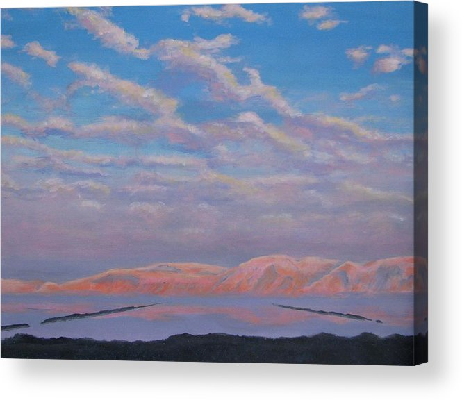 Sunset Acrylic Print featuring the painting Sunset On The Dead Sea In Israel by Art Nomad Sandra Hansen