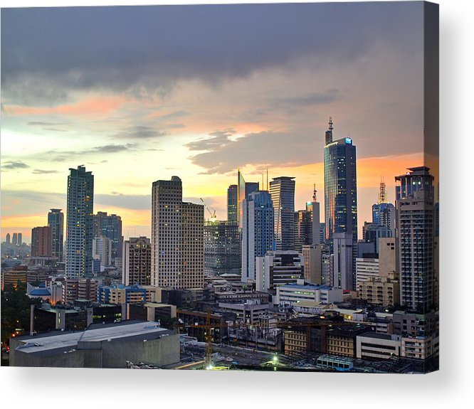 Horizontal Acrylic Print featuring the photograph Sunset Over Makati City, Manila by Neil Howard