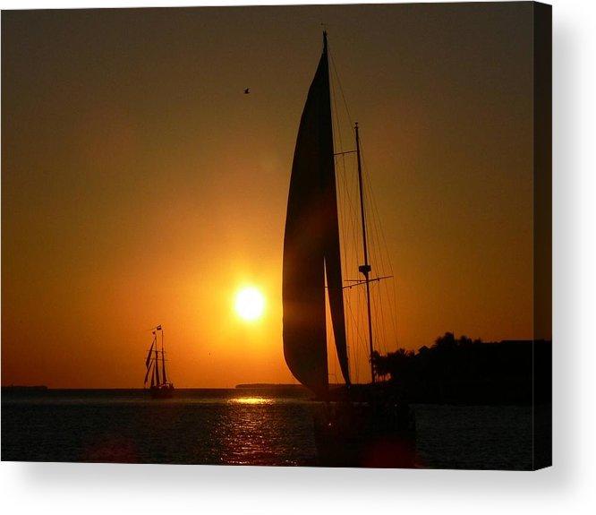 Sunset Acrylic Print featuring the photograph Sunset Sail by Deborah Carroll
