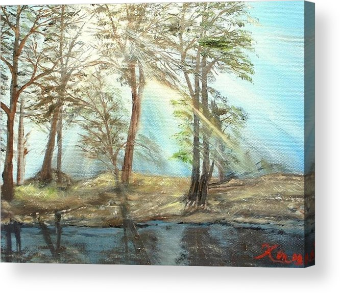 Landscape River Trees Sunshine Reflections Acrylic Print featuring the painting Sunshine by Kenneth LePoidevin