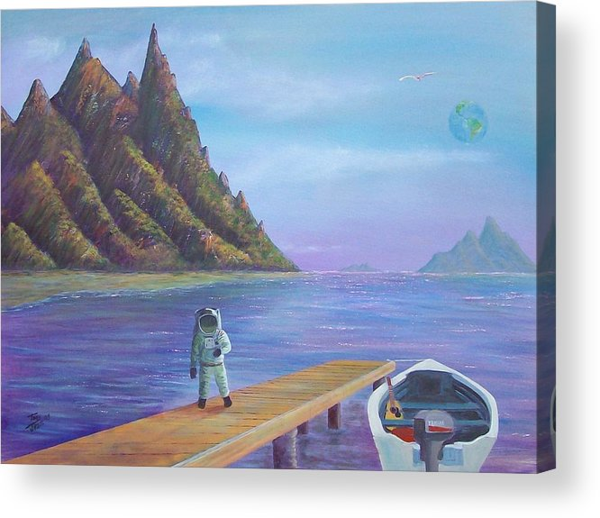 Seascapes Acrylic Print featuring the painting Surreal Seascape by Tony Rodriguez