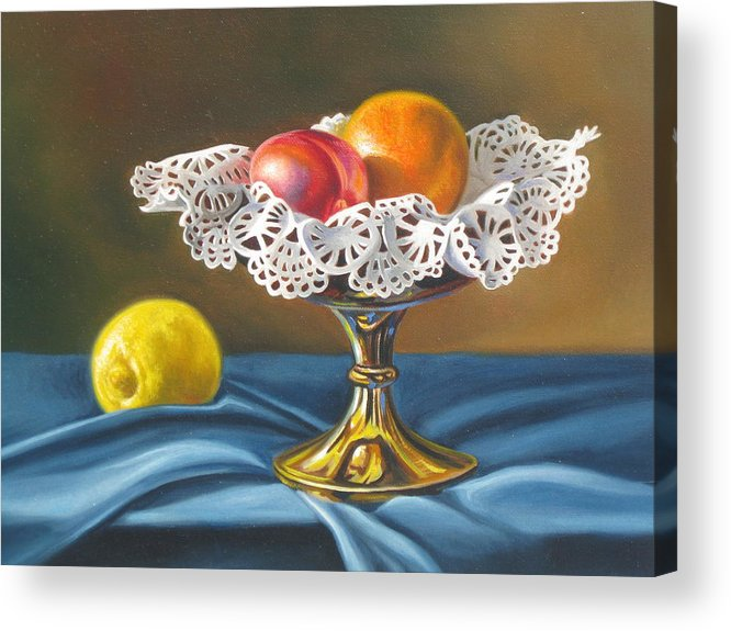 Still Life Acrylic Print featuring the painting Sweet Lace by Arnold Hurley