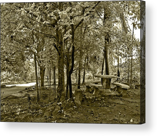 Table Acrylic Print featuring the photograph Table By The Phangan Hillside Temple by LeoLeo Khm