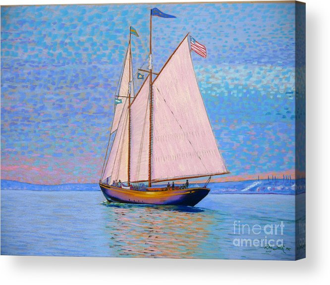Pastels Acrylic Print featuring the pastel Tall Ship Virginia Entering Halifax Harbour by Rae Smith PSC