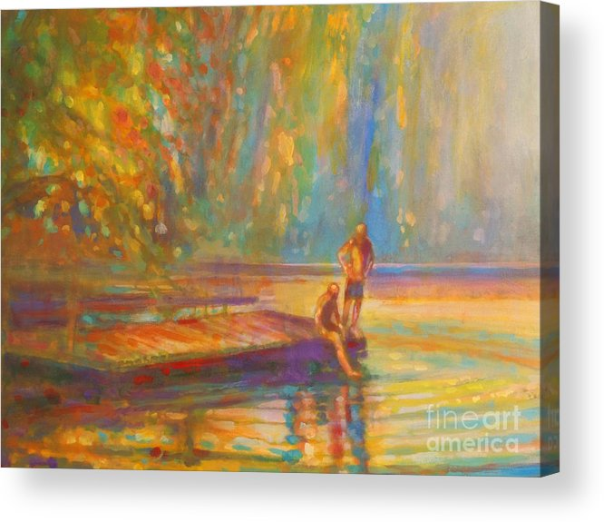 Boys Swimming Acrylic Print featuring the painting Testing The Water by Kip Decker