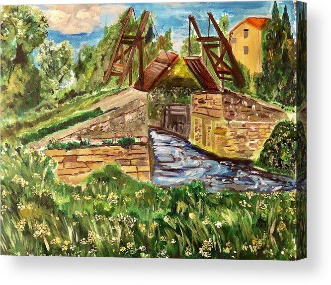 Bridge Acrylic Print featuring the painting The Langloise Bridge by Belinda Low