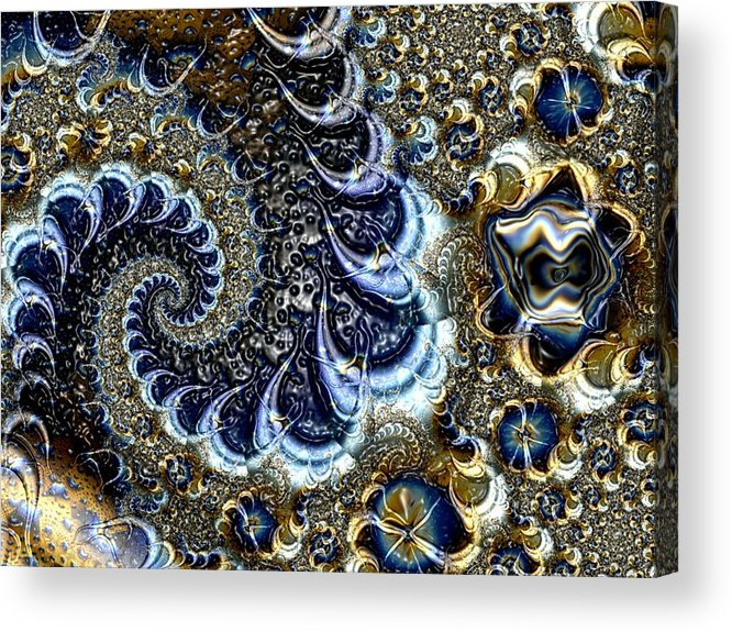 Fractal Diamonds Blue Jewel Dance River Acrylic Print featuring the digital art The Blue Diamonds by Veronica Jackson