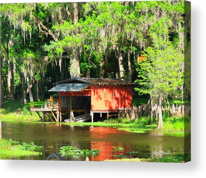 Boathouse Acrylic Print featuring the photograph The Boat House by Judy Waller