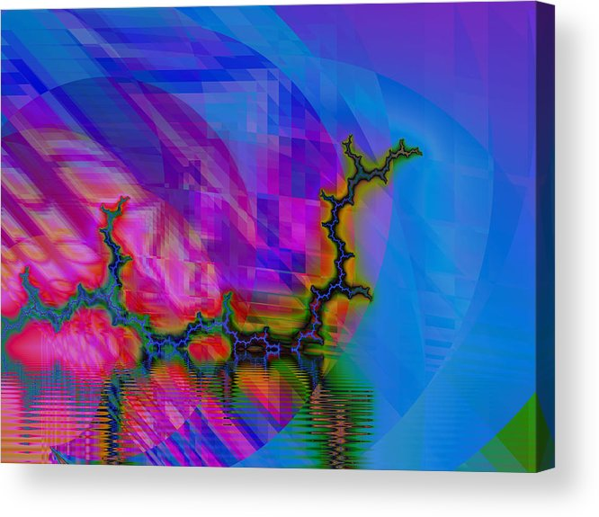 Fractal Acrylic Print featuring the digital art The Crawling Serpent by Frederic Durville