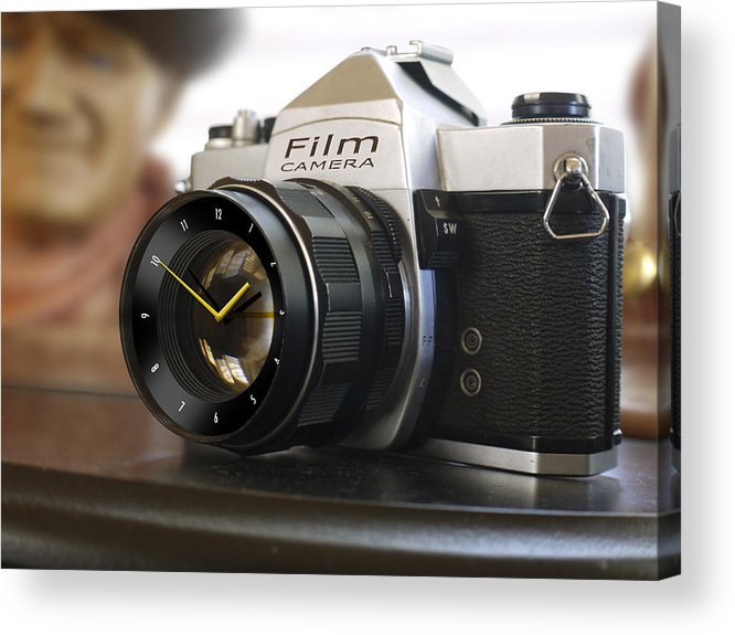 Vintage Spotmatic Acrylic Print featuring the photograph The Desk Clock by Mike McGlothlen