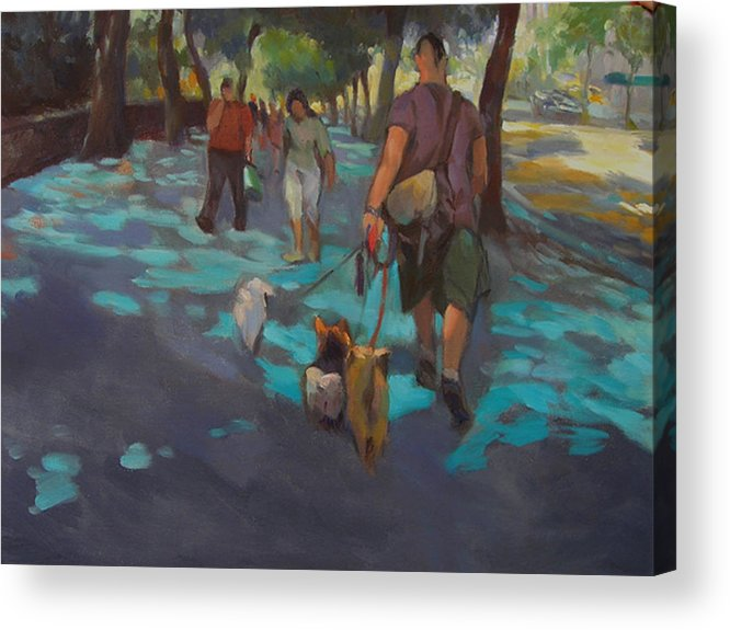 Dogs Acrylic Print featuring the painting The Dog Walker by Merle Keller